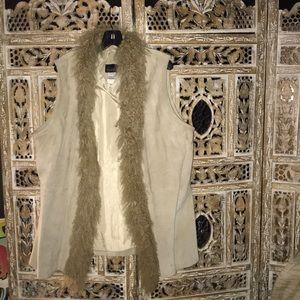 Via Accenti Leather vest faux fur collar size 24W